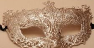 Rose gold glitter masquerade mask with black