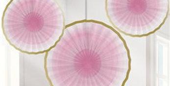 One Little Star Girl Paper Fan Decorations - 31cm (3pk)