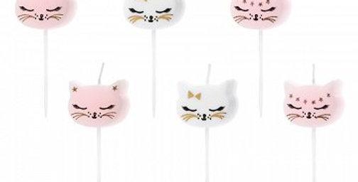 Birthday candles Cat, mix, 2cm 6 pc.)