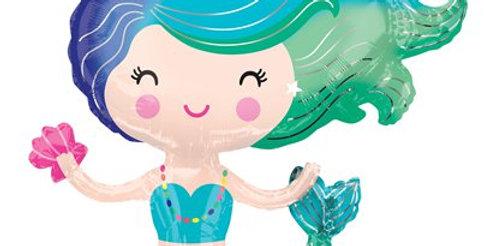 """Mermaid SuperShape Balloon - 30"""" Foil (each)"""