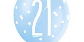 Blue Birthday Glitz Age Latex Balloons - 12 (6pk)
