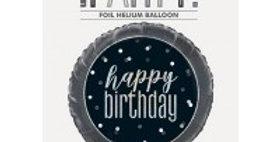 "Black/Silver Glitz 18"" Foil birthday Prism Foil"