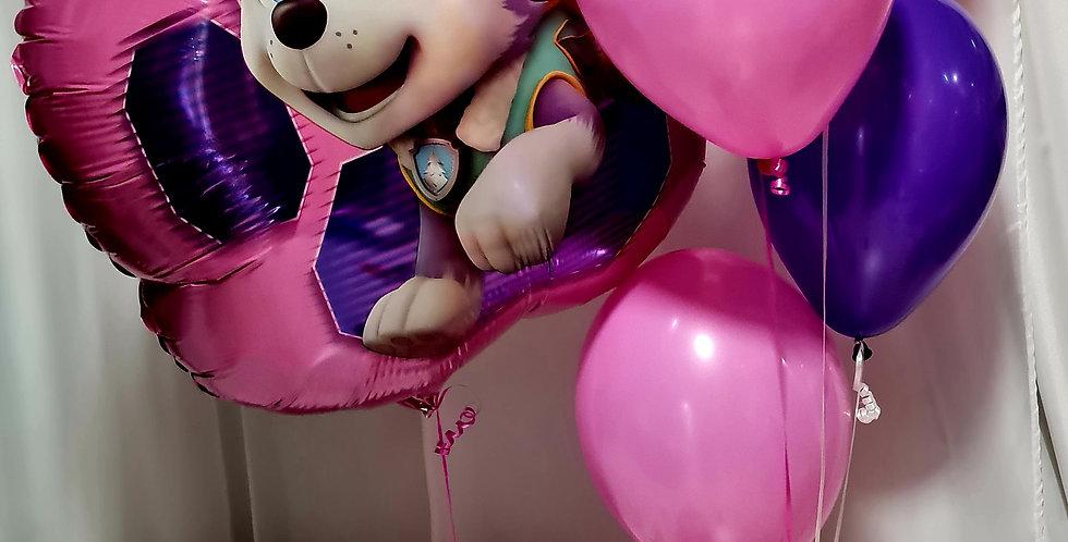 "1 Skye paw patrol Supershape foil balloon + 5 latex plain 12"" including helium"