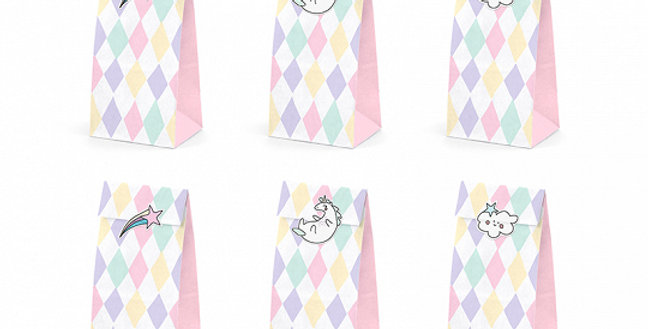 Treat bags Unicorn, set contains 6 bags with print and 6 stickers, sizes after a