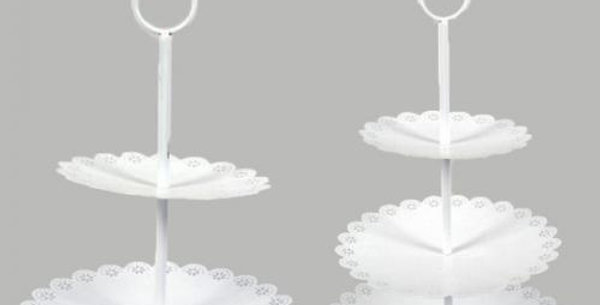 2 Tier metal white cupcake stand