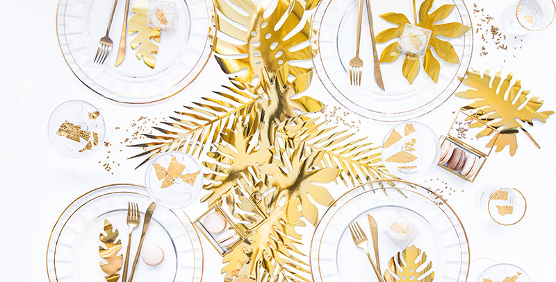 Paper decorations Aloha - Tropical leaves in gold metallic colour, set contains