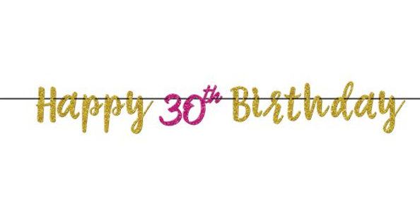 30th Pink & Gold Milestone Glitter Letter Banner - 3.65m 30th Pink & Gold Milest
