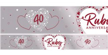 40th Ruby Wedding Anniversary Foil Banner - 2.74m (each)