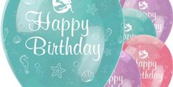 Mermaid Shine 'Happy Birthday' Balloons - 12'' Latex (6pk)