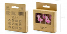 Birthday candles Flamingos in pink colour, height approx. 3 cm. (1 pkt / 5 pc.)