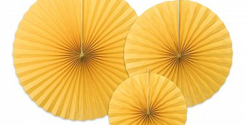Decorative Rosettes, yellow 3pk