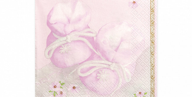 3-layer napkins Bootees, shades of pink, size 33x33 centimeters.  20pk