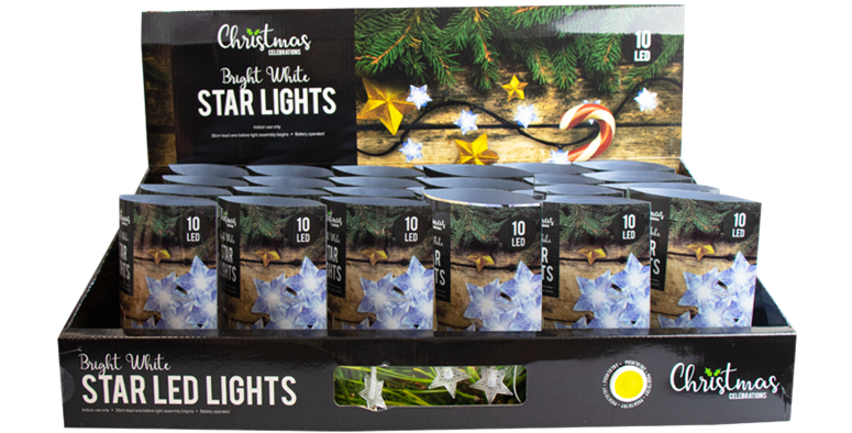 This pack of battery operated White LED Christmas Star String Lights are for ind