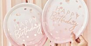 Rose Gold Balloon Shaped Party Paper Plates 8pk