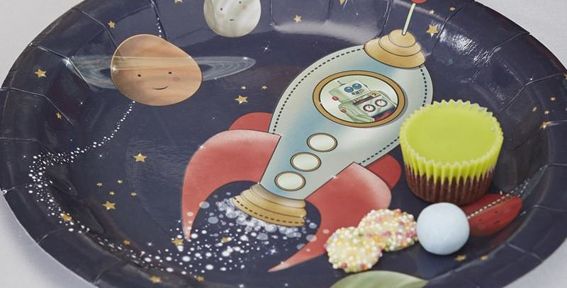 PAPER PLATES - SPACE ADVENTURE PARTY  8pk