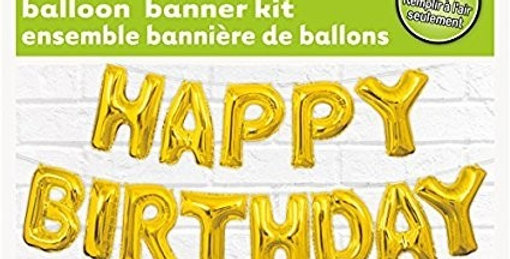 Happy birthday balloon kit Airfill only letters 14'' each 4.26m long.