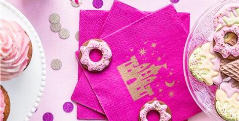 Princess Party Hot Pink Paper Napkins - 33cm (20pk)