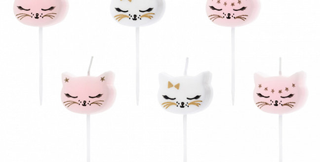 Birthday candles Cat, mix of colours and designs, size approx. 2 cm. 6pk