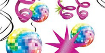 70s Disco Fever Hanging Swirls Decoration - 60cm (12pk)