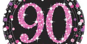 Pink / gold Celebration Age 90 Plates - 23cm Paper Party Plates (8pk)