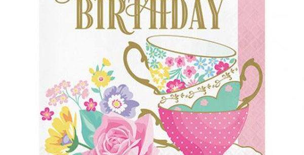 Napkins Tea Party Happy Birthday 33x33cm 16pz.