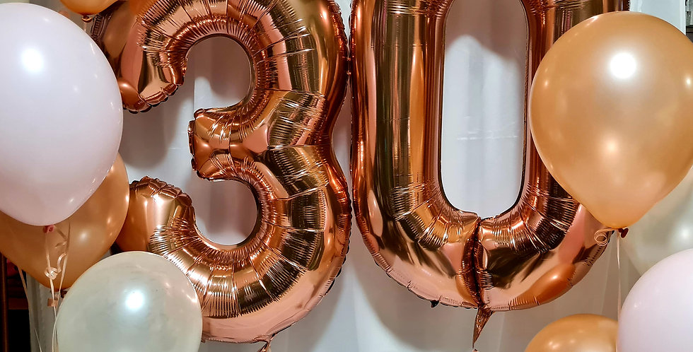 "Any 2 numbers foil 34"" any colour with 10 latex 12"" balloons  helium included"