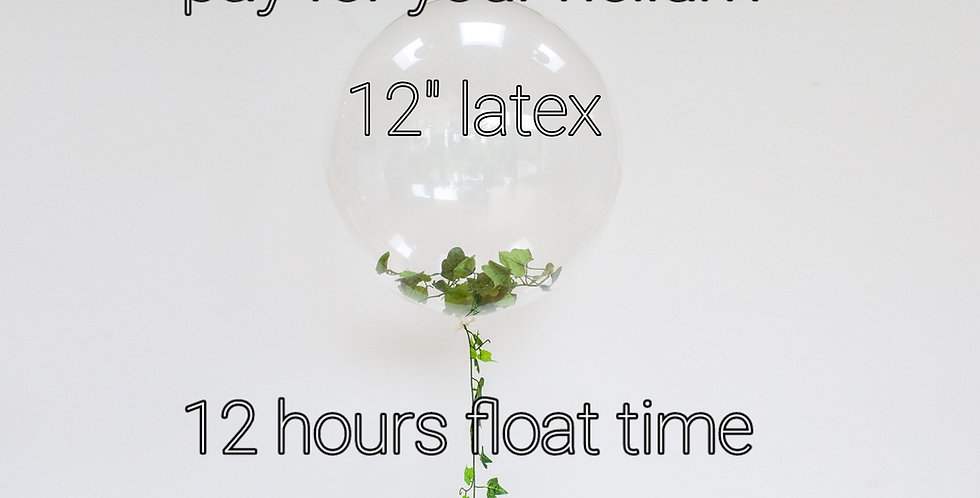 """Helium only 12"""" latex 12 hours float time price per balloon"""