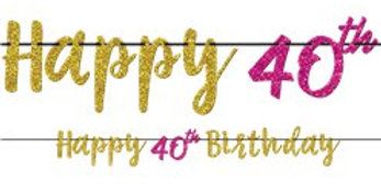 40th Pink & Gold Milestone Glitter Letter Banner - 3.65m 40th Pink & Gold Milest