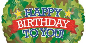 Holographic Camouflage Birthday Balloon - 18'' Foil (each)