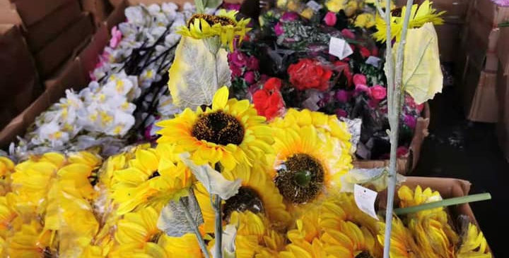 Artificial Sunflowers  1 stem 3 flowers