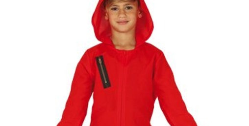 Red Heist Jumpsuit - Child & Teen Costume includes jumpsuit and attahed hood