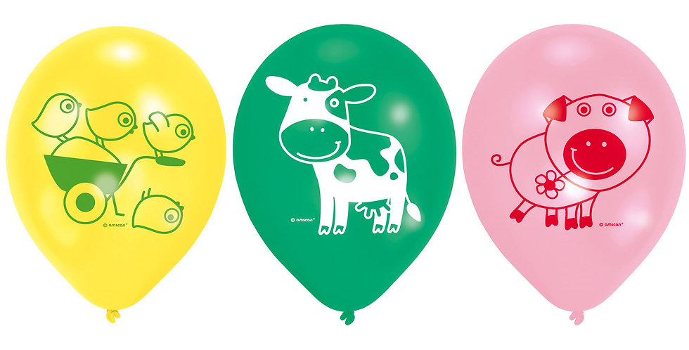 "Farm Fun Balloons - 9"" Latex (6pk)"