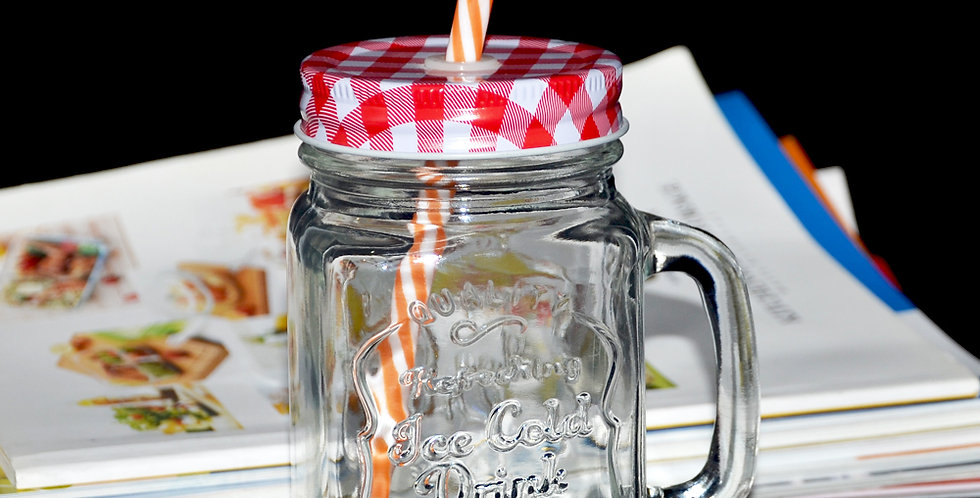 500ml ice cold drink colored glass mason jar with straw metal lid red blue