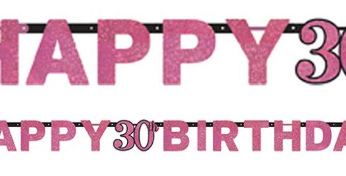 pink/ gold Celebration Age 30 Prismatic Letter Banner - 2m (each)