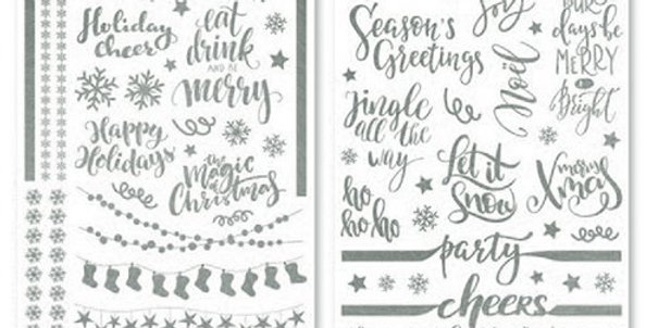 Silver Festive Party Glass Stickers  2 sheets of foil stickers