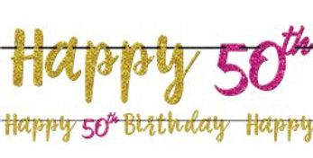 50th Pink & Gold Milestone Glitter Letter Banner - 3.65m 50th Pink & Gold Milest
