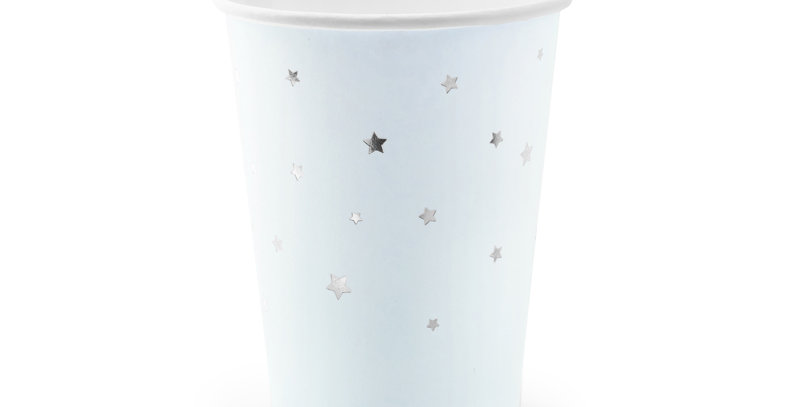 Paper cups in light blue colour with silver stars pattern,6pk. 26