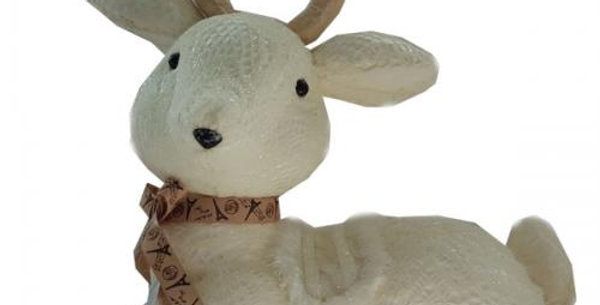 Kneeling Reindeer  Polistyrene covered in lace approx 40cm