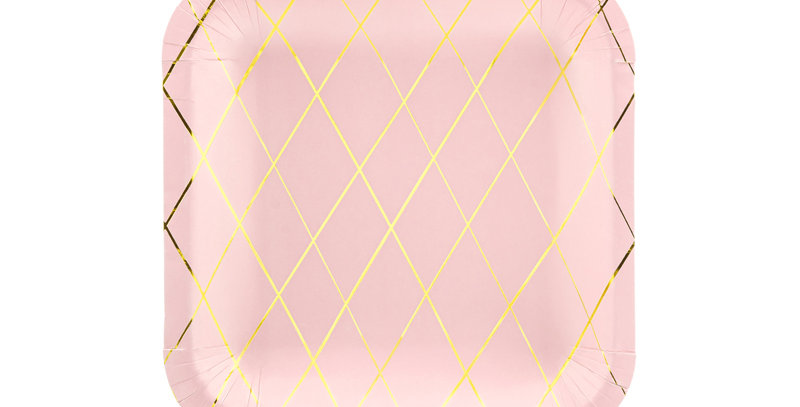 Paper plates, light pink with gold metallic grid pattern, size approx. 20 x 20 c