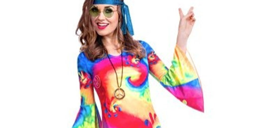60s Free Spirit - Adult Costume size 8-10, 12-14 includes Dress, Headscarf