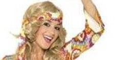 1960's Hippy - Adult Costume  includes dress and band size 8-10,12-14 ,16-