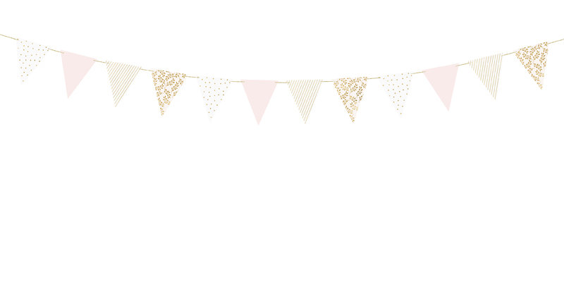 Bunting, mix of colours with gold print, do it yourself, set contains 12 flags a