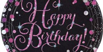 Pink/gold Celebration Happy Birthday Prismatic Plates - 23cm Paper Party Plates