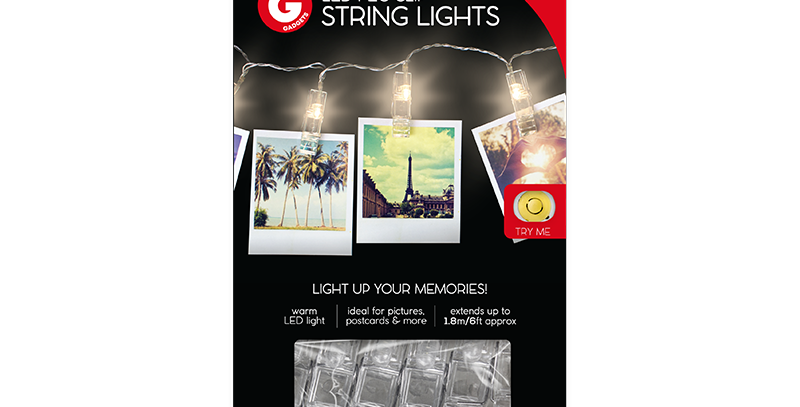 This set of battery operated LED Peg Clip String Lights is ideal for displaying