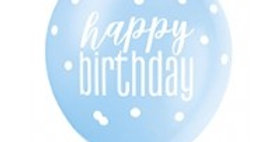 Blue Birthday Glitz Latex Balloons - 12 (6pk)