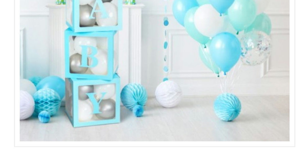 Baby Balloon Boxes Blue/pink 30x30x30cm (set of 4)