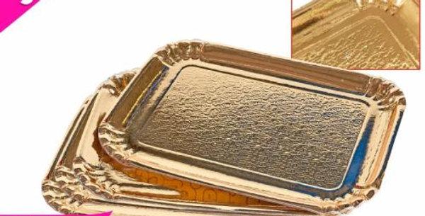 3pk gold  cake / log base 26x18cm card platter