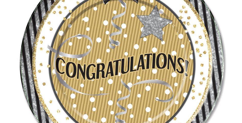 Congratulations Large Plates 8pk