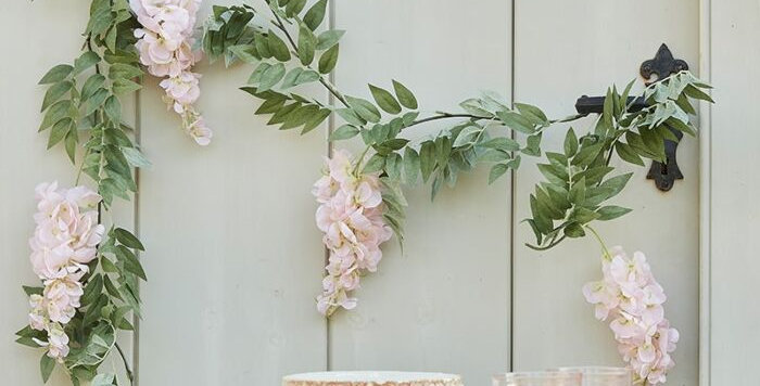 BLUSH PINK AND GREEN WISTERIA FOLIAGE GARLAND   Bring the outd
