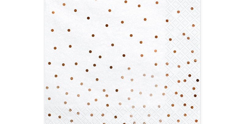 Paper napkins in colour colour with pattern of dots in rose gold colour, size af